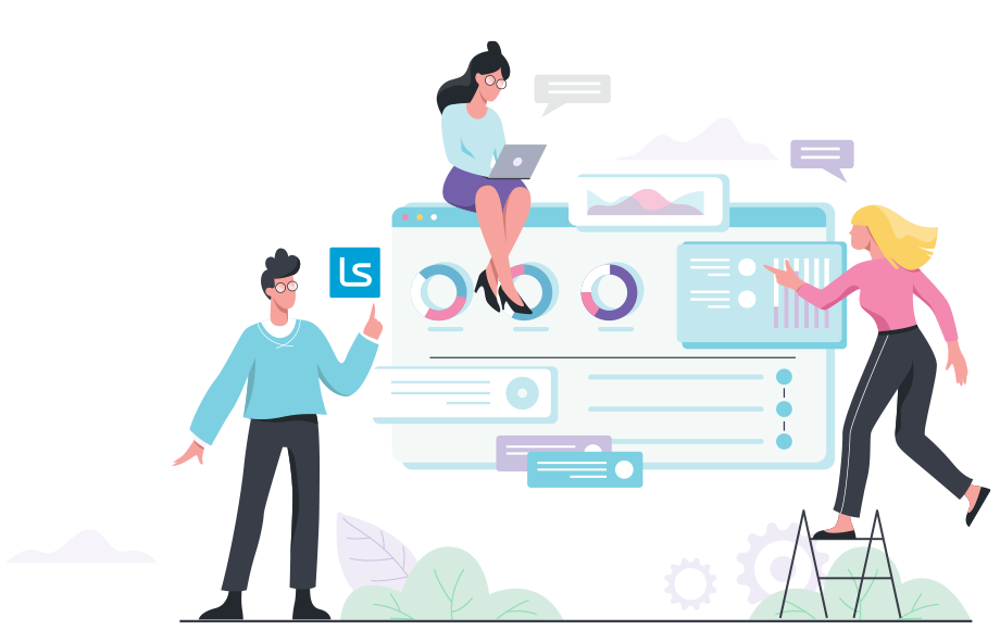 Illustration of software management for online corporate training